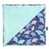 La Millou 單面巧柔豆豆毯-微笑彩魟魚(藍底)-粉嫩薄荷綠 1