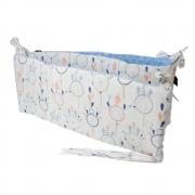 La Millou 拉米洛100%純棉床圍護欄-夢遊仙境(白底)-蒙地卡羅藍